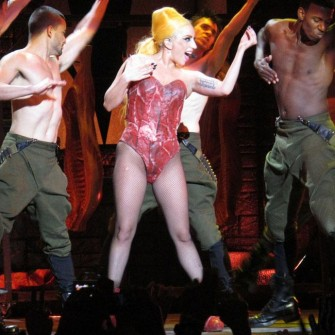 Lady Gaga's meaty show results in concussion.