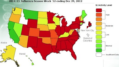 Flu Map to start 2013 - Widespread in 41 states.