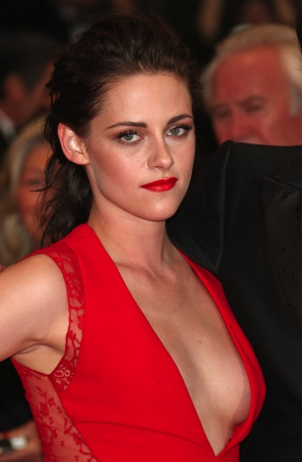 Kristen Stewart shows major cleavage.